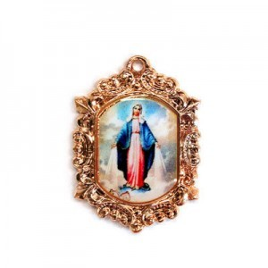 20x15mm Our Lady of Miraculous Medal Octagon Medal Italian Quality Enamel on Antiqued Copper Tone Base 6pcs