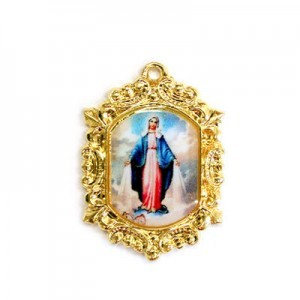 20x15mm Our Lady of Miraculous Medal Octagon Medal Italian Quality Enamel on Gold Tone Base 6pcs