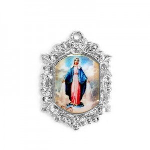 20x15mm Our Lady of Miraculous Medal Octagon Medal Italian Quality Enamel on Platinum Color Base 6pcs