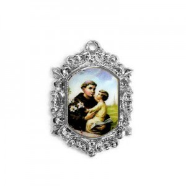 20x15mm St. Anthony Octagon Medal Italian Quality Enamel on Antiqued Silver Tone Base 6pcs