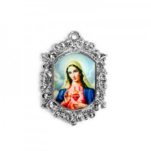 20x15mm Immaculate Heart of Mary Octagon Medal Italian Quality Enamel on Antiqued Silver Tone Base 6pcs