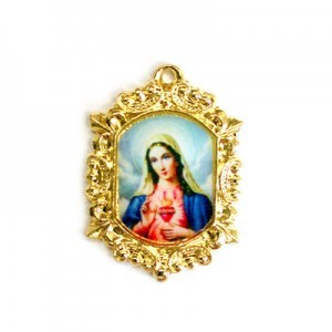 20x15mm Immaculate Heart of Mary Octagon Medal Italian Quality Enamel on Gold Tone Base 6pcs