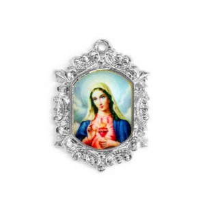 20x15mm Immaculate Heart of Mary Octagon Medal Italian Quality Enamel on Platinum Color Base 6pcs