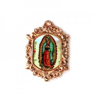 20x15mm Our Lady of Guadalupe Octagon Medal Italian Quality Enamel on Antiqued Copper Tone Base 6pcs