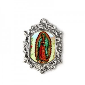 20x15mm Our Lady of Guadalupe Octagon Medal Italian Quality Enamel on Antiqued Silver Tone Base 6pcs