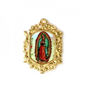 20x15mm Our Lady of Guadalupe Octagon Medal Italian Quality Enamel on Gold Tone Base 6pcs
