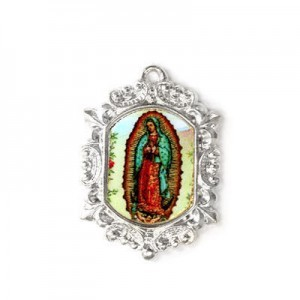 20x15mm Our Lady of Guadalupe Octagon Medal Italian Quality Enamel on Platinum Color Base 6pcs