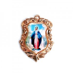 20x16mm Our Lady of Miraculous Medal Shield Medal Italian Quality Enamel on Antiqued Copper Tone Base 6pcs