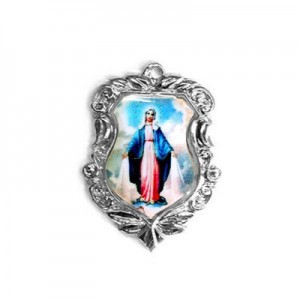 20x16mm Our Lady of Miraculous Medal Shield Medal Italian Quality Enamel on Antiqued Silver Tone Base 6pcs