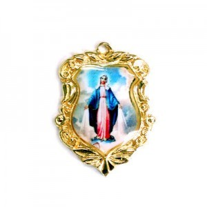 20x16mm Our Lady of Miraculous Medal Shield Medal Italian Quality Enamel on Gold Tone Base 6pcs