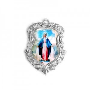 20x16mm Our Lady of Miraculous Medal Shield Medal Italian Quality Enamel on Platinum Color Base 6pcs