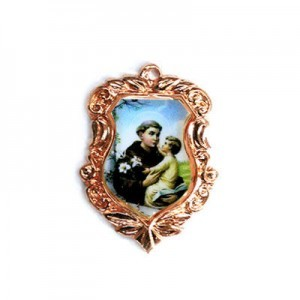 20x16mm St. Anthony Shield Medal Italian Quality Enamel on Antiqued Copper Tone Base 6pcs