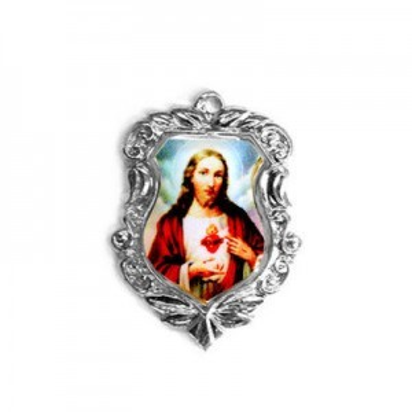20x16mm Sacred Heart of Jesus Shield Medal Italian Quality Enamel on Antiqued Silver Tone Base 6pcs