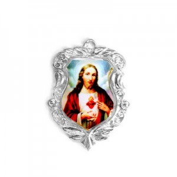 20x16mm Sacred Heart of Jesus Shield Medal Italian Quality Enamel on Platinum Color Base 6pcs