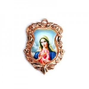 20x16mm Immaculate Heart of Mary Shield Medal Italian Quality Enamel on Antiqued Copper Tone Base 6pcs