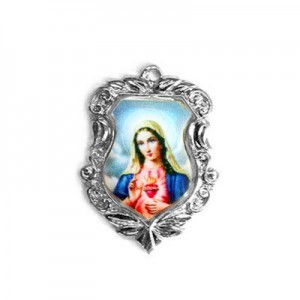 20x16mm Immaculate Heart of Mary Shield Medal Italian Quality Enamel on Antiqued Silver Tone Base 6pcs