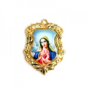 20x16mm Immaculate Heart of Mary Shield Medal Italian Quality Enamel on Gold Tone Base 6pcs
