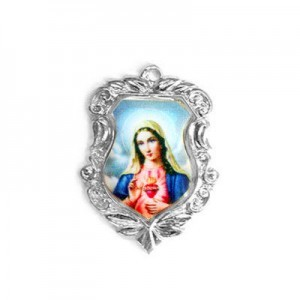 20x16mm Immaculate Heart of Mary Shield Medal Italian Quality Enamel on Platinum Color Base 6pcs