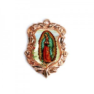 20x16mm Our Lady of Guadalupe Shield Medal Italian Quality Enamel on Antiqued Copper Tone Base 6pcs