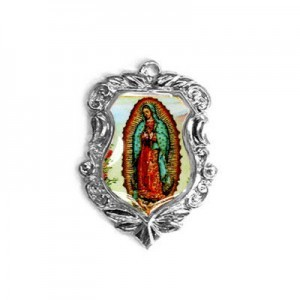 20x16mm Our Lady of Guadalupe Shield Medal Italian Quality Enamel on Antiqued Silver Tone Base 6pcs