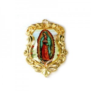 20x16mm Our Lady of Guadalupe Shield Medal Italian Quality Enamel on Gold Tone Base 6pcs