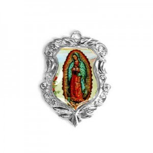 20x16mm Our Lady of Guadalupe Shield Medal Italian Quality Enamel on Platinum Color Base 6pcs