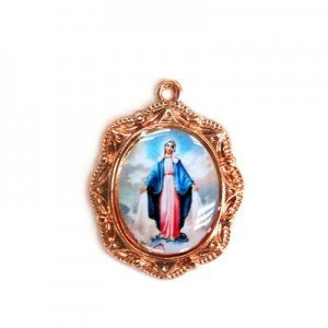 19x16mm Our Lady of Miraculous Medal Oval Medal Italian Quality Enamel on Antiqued Copper Tone Base 6pcs