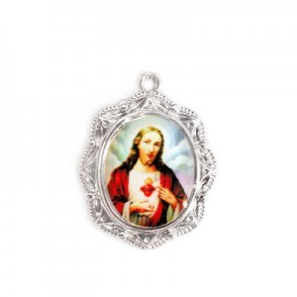 19x16mm Sacred Heart of Jesus Oval Medal Italian Quality Enamel on Platinum Color Base 6pcs