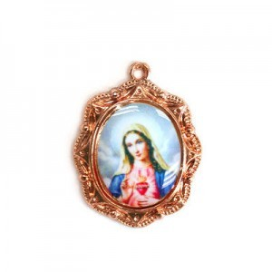 19x16mm Immaculate Heart of Mary Oval Medal Italian Quality Enamel on Antiqued Copper Tone Base 6pcs