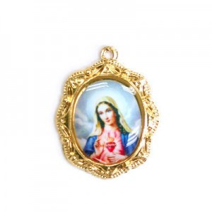 19x16mm Immaculate Heart of Mary Oval Medal Italian Quality Enamel on Gold Tone Base 6pcs