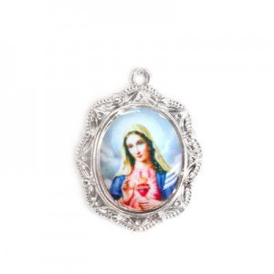 19x16mm Immaculate Heart of Mary Oval Medal Italian Quality Enamel on Platinum Color Base 6pcs