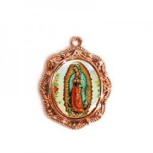 19x16mm Our Lady of Guadalupe Oval Medal Italian Quality Enamel on Antiqued Copper Tone Base 6pcs