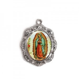 19x16mm Our Lady of Guadalupe Oval Medal Italian Quality Enamel on Antiqued Silver Tone Base 6pcs