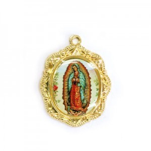 19x16mm Our Lady of Guadalupe Oval Medal Italian Quality Enamel on Gold Tone Base 6pcs