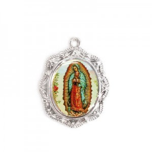 19x16mm Our Lady of Guadalupe Oval Medal Italian Quality Enamel on Platinum Color Base 6pcs