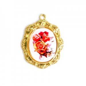 19x16mm Bouquet of Roses Oval Medal Italian Quality Enamel on Gold Tone Base 6pcs