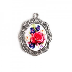 19x16mm Bouquet of Mix Flowers Oval Medal Italian Quality Enamel on Antiqued Silver Tone Base 6pcs
