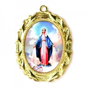 28x23mm Our Lady of Miraculous Medal Oval Medal Italian Quality Enamel on Gold Tone Base 6pcs