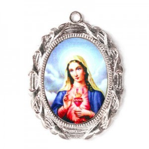 28x23mm Immaculate Heart of Mary Oval Medal Italian Quality Enamel on Antiqued Silver Tone Base 6pcs