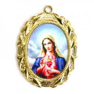 28x23mm Immaculate Heart of Mary Oval Medal Italian Quality Enamel on Gold Tone Base 6pcs