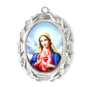 28x23mm Immaculate Heart of Mary Oval Medal Italian Quality Enamel on Platinum Color Base 6pcs