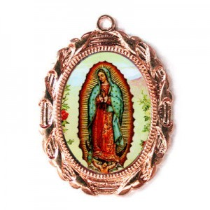 28x23mm Our Lady of Guadalupe Oval Medal Italian Quality Enamel on Antiqued Copper Tone Base 6pcs