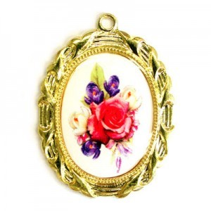 28x23mm Bouquet of Mix Flowers Oval Medal Italian Quality Enamel on Gold Tone Base 6pcs