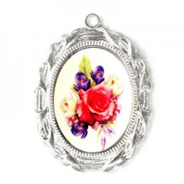 28x23mm Bouquet of Mix Flowers Oval Medal Italian Quality Enamel on Platinum Color Base 6pcs