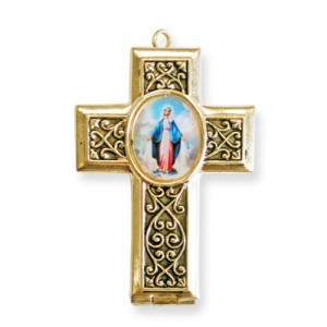 40x28mm Our Lady of Miraculous Medal Cross Locket W/ Blue Miniature Rosary Italian Quality Enamel on Antiqued Gold Tone Base 2pc