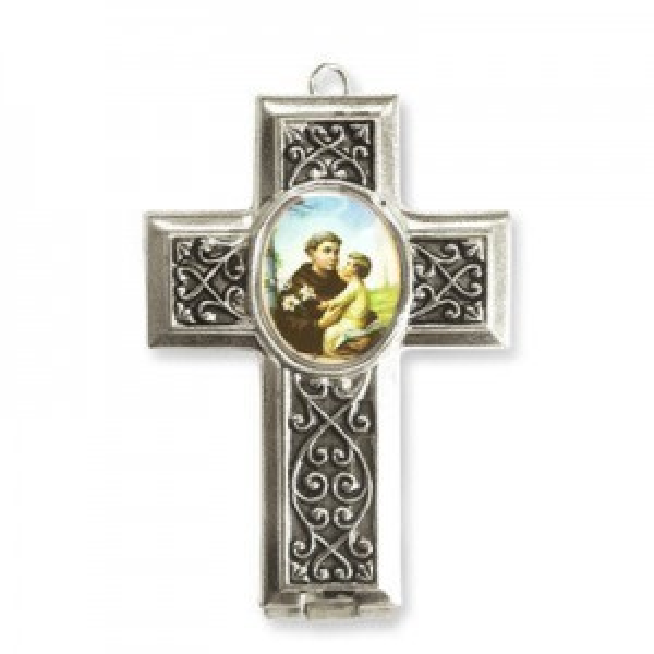 40x28mm St. Anthony Cross Locket W/ Rose Miniature Rosary Italian Quality Enamel on Antiqued Silver Tone Base 2pcs