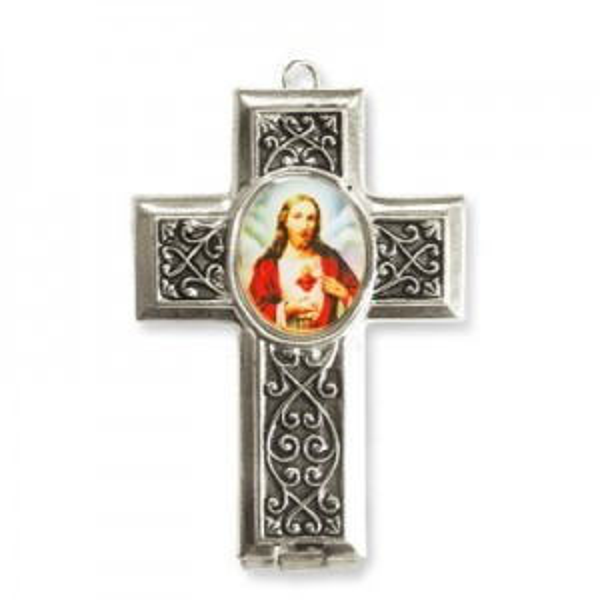 40x28mm Sacred Heart of Jesus Cross Locket W/ Rose Miniature Rosary Italian Quality Enamel on Antiqued Silver Tone Base 2pcs