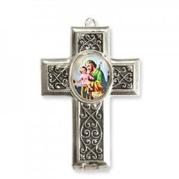 40x28mm St. Joseph Cross Locket W/ Blue Miniature Rosary Italian Quality Enamel on Antiqued Silver Tone Base 2pcs