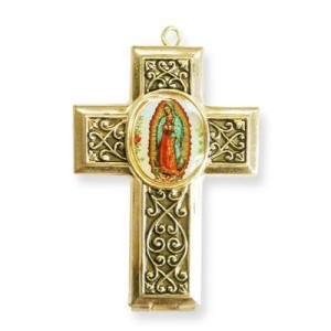 40x28mm Our Lady of Guadalupe Cross Locket W/ Blue Miniature Rosary Italian Quality Enamel on Antiqued Gold Tone Base 2pcs
