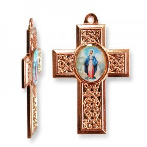40x28mm Our Lady of Miraculous Medal Cross Pendant Italian Quality Enamel on Antiqued Copper Tone Base 6pcs